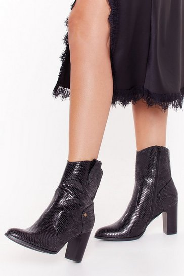 Womens Black Snake Control Faux Leather Heeled Boots