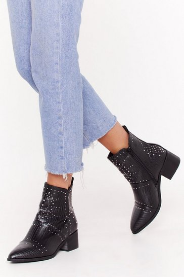 Black Forever Misunder-stud Faux Leather Ankle Boots