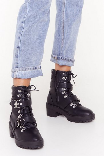 Womens Black Edward Scissor Hands Biker Boot