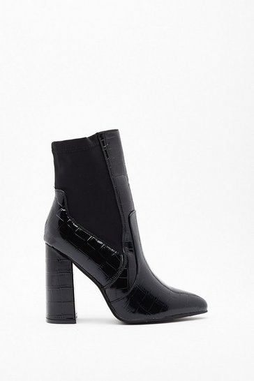 Womens Black Heel Before Me Patent Pointed Boots