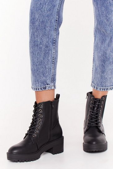 Womens Black Together Faux Leather Lace-Up Boots