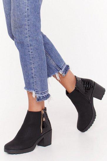 Womens Black One Night Stand Croc Ankle Boots