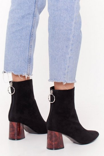 Black Faux-Suede Zip Ankle Boots with Block Heel