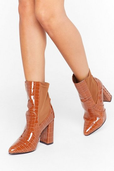 Womens Brown Patent Croc Lycra Sock Boot