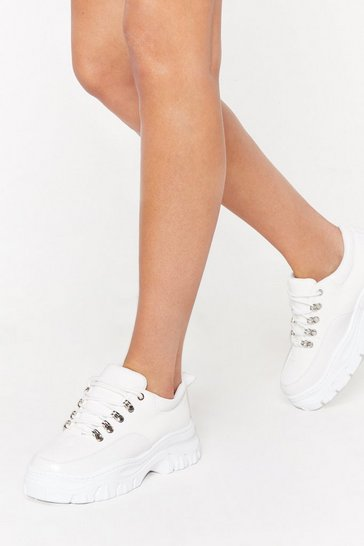 Womens White I'm Croc Alone Faux Leather Trainers