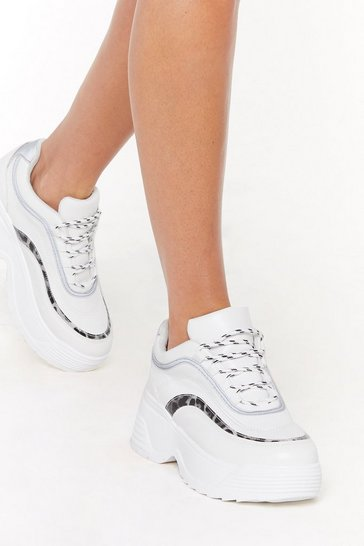 Womens White Walk into the Wild Leopard Platform Sneakers
