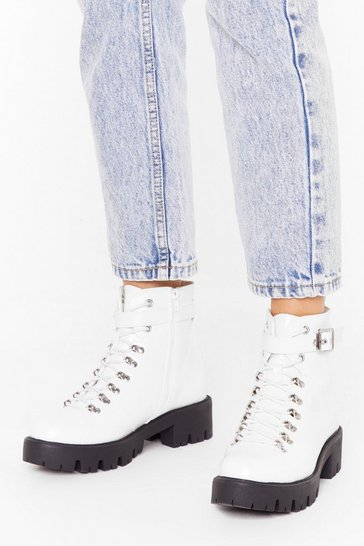 Womens White Too Big for Your Faux Leather Buckle Boots