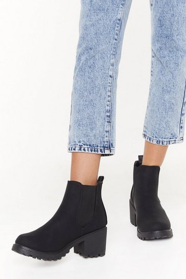 Womens Black Stand Firm Faux Suede Chelsea Boots