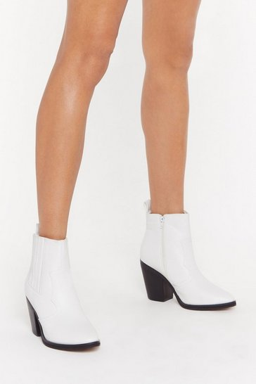 Womens White What's the Point Faux Leather Heeled Boots
