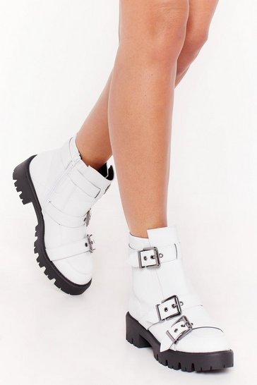 Womens White Too Big for Your Buckle Boots