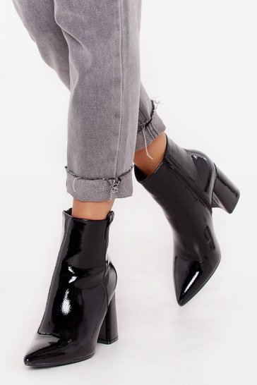 Bottines pointues vernies à talons épais Amour brillant, Black, FEMMES