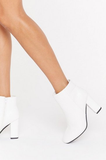 White Block Heel Croc Embossed Ankle Boots