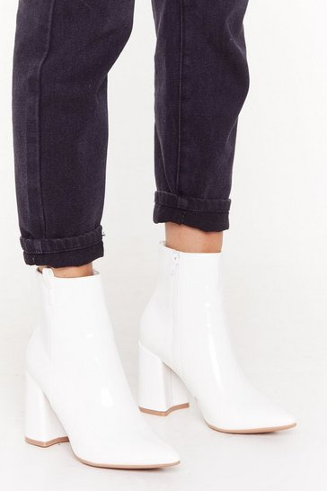 Womens White Pointed Patent Flare Heel Ankle Boot