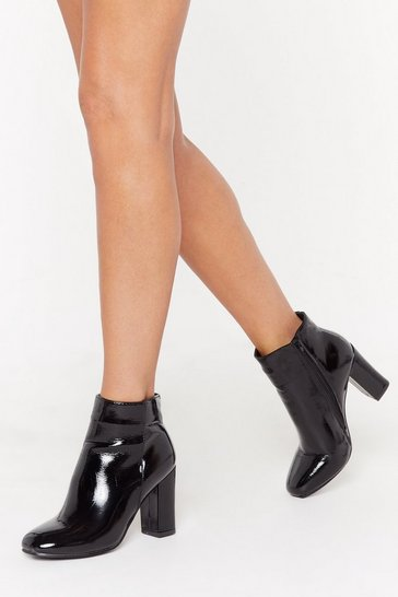 Womens Black Pantent Square Toe Ankle Boot