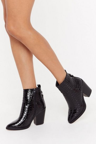 Womens Black Croc This Town Faux Leather Boots