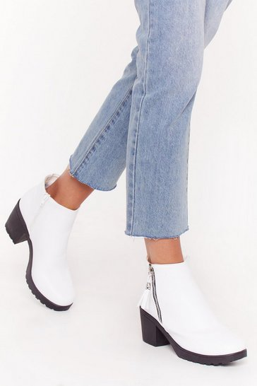 Womens White One Night Stand Zip Ankle Boots