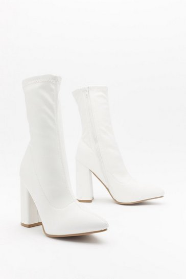 White Pointed Faux Leather Sock Boots