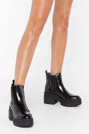Womens Black Chunky Cleated Covered Gusset Chelsea Boot