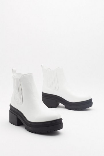 Womens White Always One Step Ahead Faux Leather Chelsea Boots