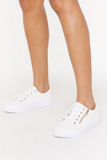 Womens White Side Zip Faux Snake Lace Up Sneaker