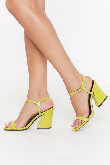 Womens Lime Notch Again Patent Block Heels