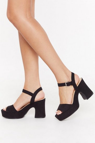 Womens Black Notch This Again Platform Heels