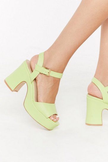 Womens Lime Not That Into You Faux Leather Platform Heels