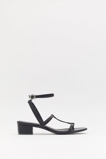Womens Black Square Toe Strappy Low Block Heels
