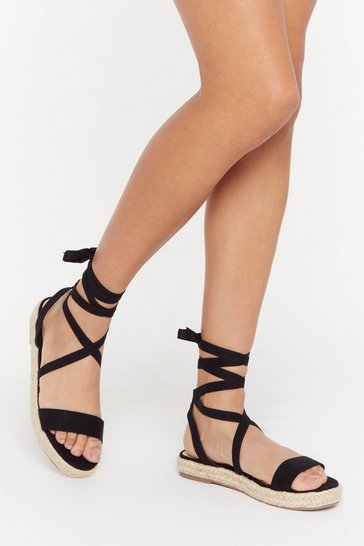 Womens Black That's a Wrap Faux Suede Woven Sandals