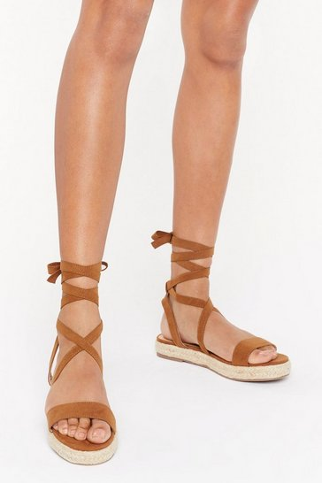 Womens Tan Walk the Walk Lace-Up Platform Sandals