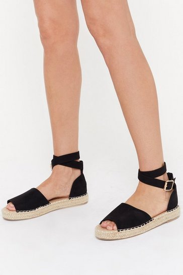 Womens Black Immi Suede Open Toe Ankle Buckle Espadrilles