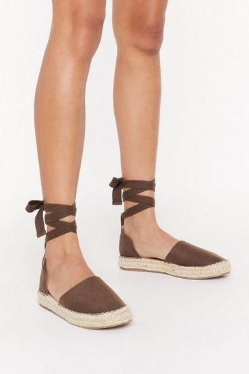 Womens Brown Contrast Stitch Thick Ankle Tie Espadrilles