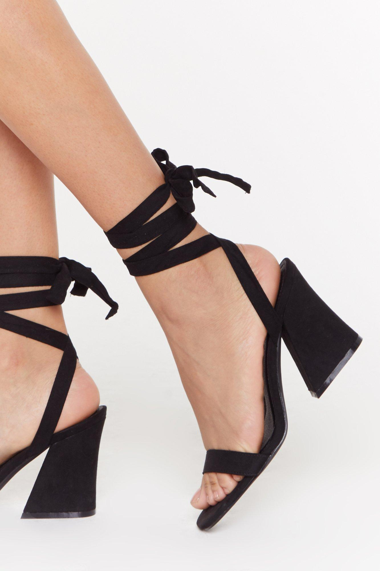 The Lace is On Faux Suede Flare Heel Sandals | Nasty Gal