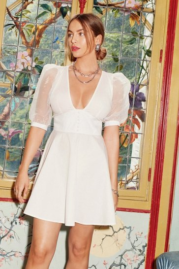 Womens White Organza Off Babe Puff Sleeve Mini Dress