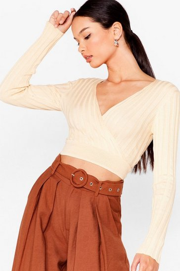 Cream On Wrap Knit Crop Top