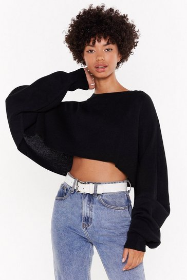 Womens Black batwing super wide cropped jumper