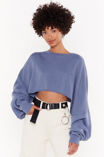 Denim-blue batwing super wide cropped jumper
