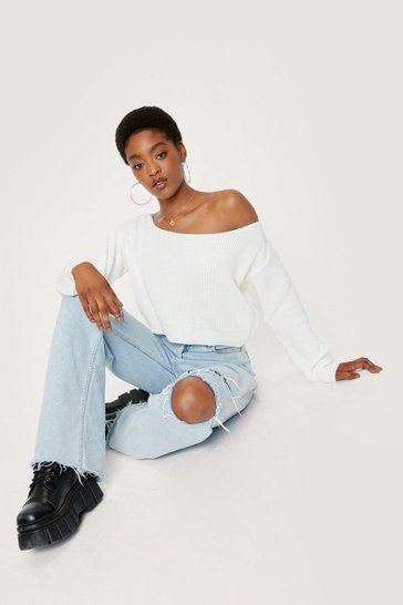 Cream Off The Shoulder Slouchy Knit Jumper