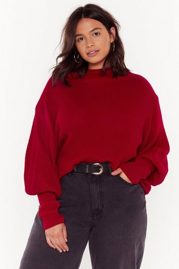 Womens Red Knit's Not Me Plus Turtleneck Sweater