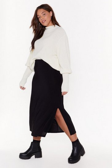 Womens White MS Ribbed Puff Sleeve Jumper