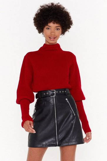 Womens Red Let's Get Knit Puff Sleeve Sweater