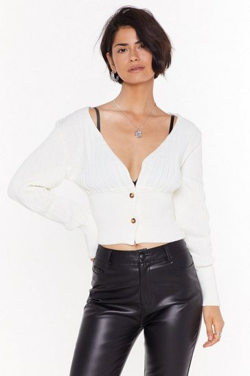 Womens Cream Give Knit Your All Button-Down Cardigan