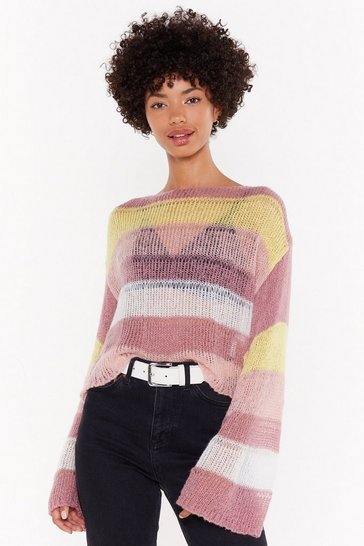 Womens Lilac Laguna Stripe Crop Sweater