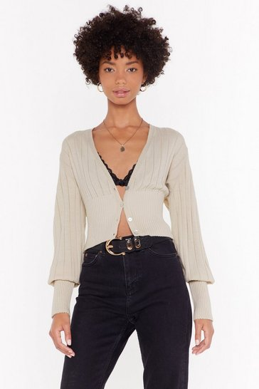 Womens Cream This is V Plunging Ribbed Cardigan