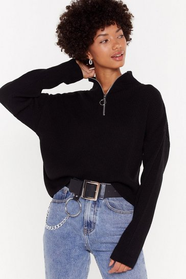 Womens Black Zips Don't Lie Oversized Sweater