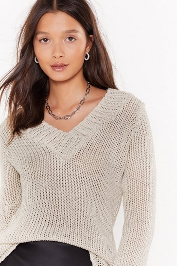 Womens Oatmeal It's All About V Knit Sweater