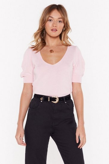 Womens Blush What's the Ruche V-Neck Knit Sweater