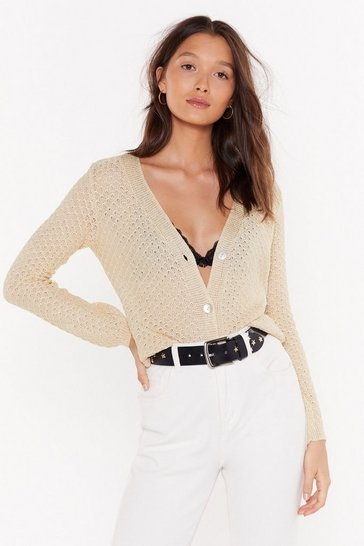 Womens Oatmeal Get Straight to the Pointelle Button-Down Cardigan