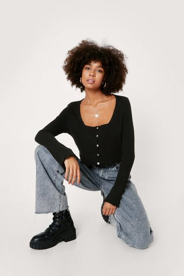 Black Ribbed Knit Ruffle Trim Crop Cardigan
