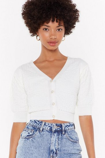 Womens White Rumour has Knit Cropped Button-Down Cardigan